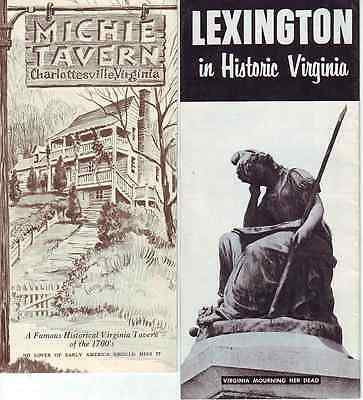Lot of 11 Virginia VA Brochures Michie Tavern Williamsburg Lexington Caverns