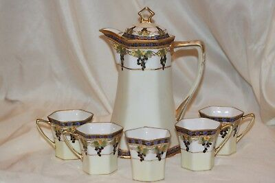 Vintage NIPPON Moriage Gold Grapes Chocolate Pot Set, Coffee/Teapot w/5 Cups