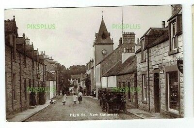 Old Postcard New Galloway High Street Post Office Dumfries Real Photo Used 1913