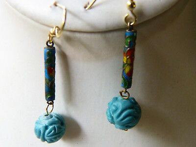 Lovely earrings with antique Chinese silver enamel dangles and turquoise