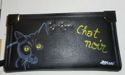 Black Bombay Cat Hand Painted Leather Wallet for Women Chat Noir