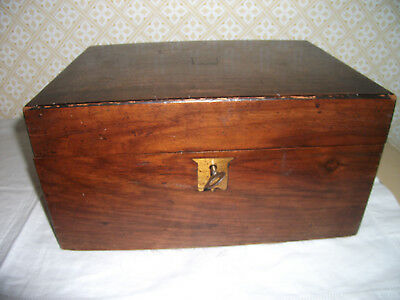 ANTIQUE MAHOGANY / ROSEWOOD (?) WRITING BOX in need of RESTORATION