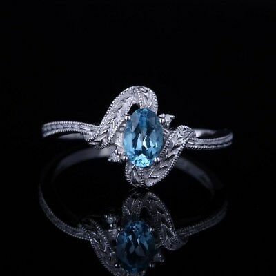 14K White Gold 6x4MM Blue Topaz Genunine Diamond Jewelry Engagement Wedding Ring
