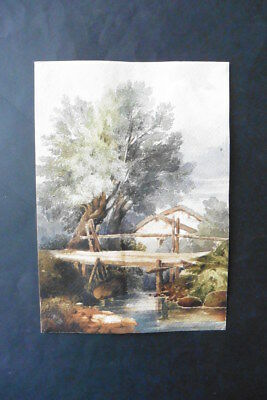 FRENCH SCHOOL 19thC - WOODED LANDSCAPE WITH BRIDGE - FINE WATERCOLOR