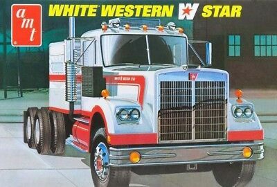 White Western Star Tractor Truck 1/25 scale skill 3 AMT plastic model kit#724
