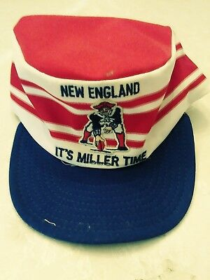 NEW ENGLAND PATRIOTS VTG 80's IT'S MILLER TIME PAINTERS BASEBALL CAP HAT Beer