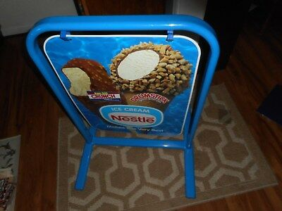 Nestle Ice Cream Metal Sign On Stand Double Sided 1998 Advertisement Candy Bar