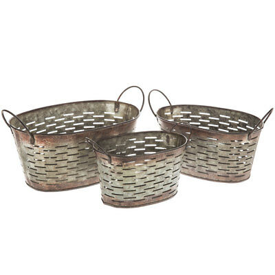 Farmhouse Antique Style Galvanized Metal Olive Bucket Set/3 Country Home Decor
