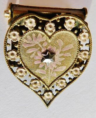 Antique Brooch Pin Scarf Clip on Heart Shaped Painted UNKNOWN Vintage Jewelry