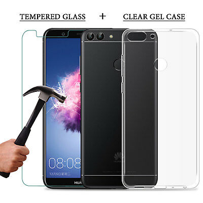 For Huawei P Smart  Tempered Glass Film Screen Protector + Clear Gel Case Cover