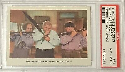 1959 Fleer Three Stooges We Never Took A Lesson In Our Life Card #61 Psa 8 Nm/mt