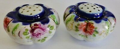 Antique Painted Salt Pepper Shakers Porcelain Flowers OLD