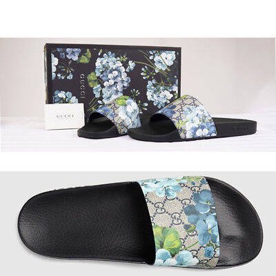 f0b99f2c326aa2 sz 13 NEW GUCCI Men s BLOOMS GG Supreme Canvas SPORT SLIDES SANDALS Pool  Shoes