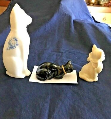 Vintage Avon Bottles Cats Ming  Blue Eyes  Black Cat Full Here's My Heart