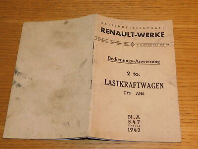 ancien REVUE technique 1942 CAMION RENAULT WERKE LASTKRAFTWAGEN AHS schema MAP