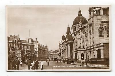 Aberdeen - His Majesty's Theatre, street scene - old real photo postcard