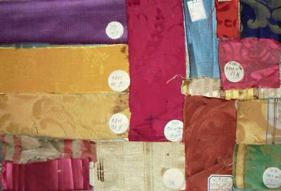 15 BEAUTIFUL ANTIQUE FRENCH SILK & SILKY SAMPLES ORIGINAL LABELS c1930, 59.