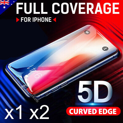 5D Apple iPhone XS Max XR 8 7 6s Plus Full Cover Tempered Glass Screen Protector