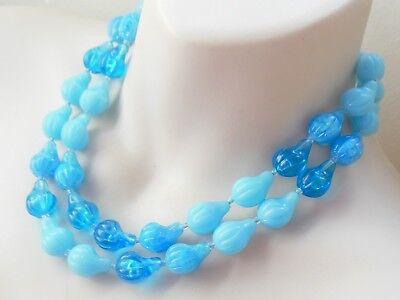Fab Vintage 1950's 60s blue lucite beaded rockabilly necklace mid century summer