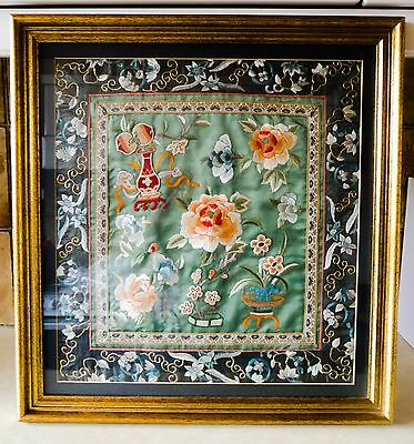 Chinese Silk Embriodery, Panel, Framed