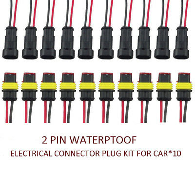 10x 2Pin Car Waterproof Electrical Wire Cable Automotive Connector Way Plug Kit