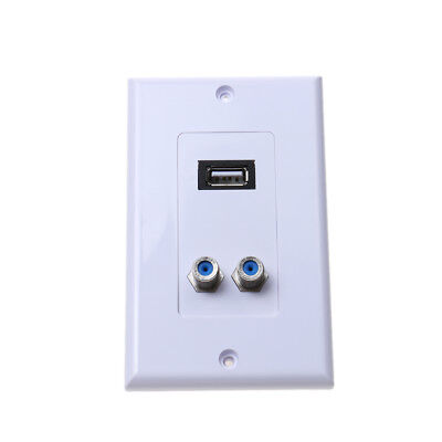 Multimedia Wall Socket Face Plate USB 2.0 + 2F Coaxial Head For Audio Video