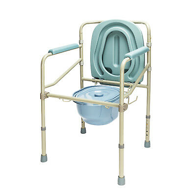 Medical Toilet Seat Commode Chair Bedside Folding Steel Frame with Cover