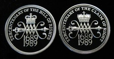 1989 United Kingdom 2 Pound Silver Proof Two-Coin Set