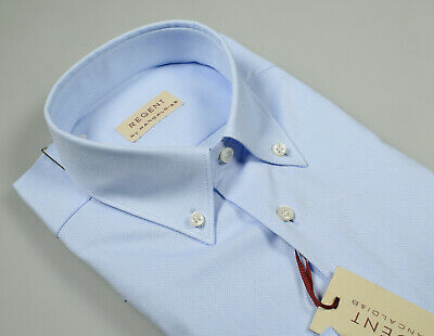 Camicia classica Pancaldi Celeste Cotone Oxford collo Button Down con taschino