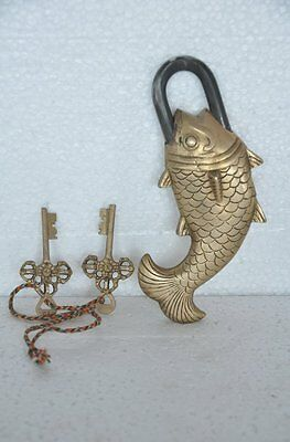 Unique Brass Handcrafted Fish Shape Engraved Press Button Tricky 2 Key Padlock