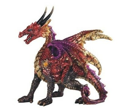 Red Fire Dragon Statuette Figurine Mythical Fantasy Collectible Decoration New