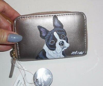 Boston Terrier dog Hand Painted Leather Coin Purse Mini Wllet