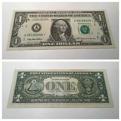 VINTAGE star 1999 BOSTON $1 ONE DOLLAR BILL GREEN SEAL FEDERAL RESERVE NOTE VNC