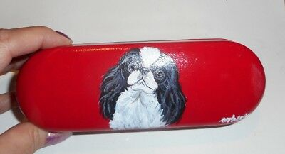 Japanese Chin  Dog Hand Painted Eyeglass Hard  case  Red Leather