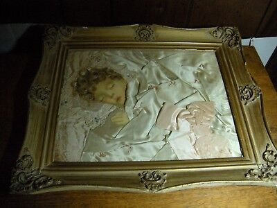 Antique vintage  Ribbon Girl Doll  Baby Picture Art Deco  frame  Real Hair RARE