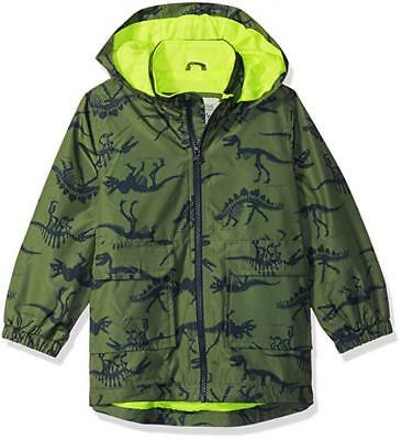 Carter's Boys Dinosaur Jersey Lined Rainslicker Jacket Size 2T 3T 4T 4 5/6 7