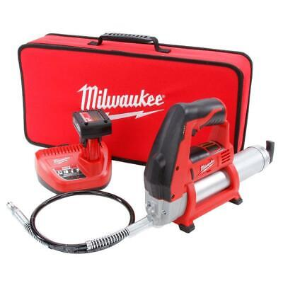 Milwaukee M12 Grease Gun Kit with 3Ah Battery Charger and Soft Case  2446-21XC