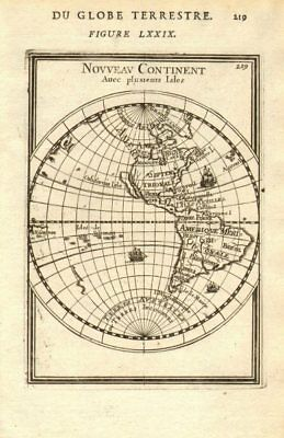 AMERICAS SHOWING CALIFORNIA AS AN ISLAND. 'Nouveau Continent'. MALLET 1683 map