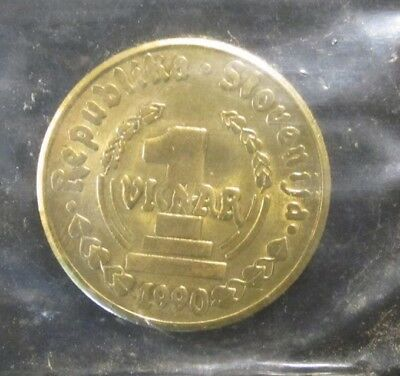 1990 1 Vinar Slovenia Uncirculated Coin