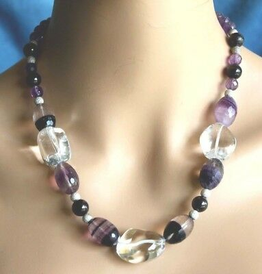 Large Vintage Purple Amethyst Rock Crystal Chinese Silver Clasp Bead Necklace