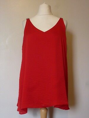 NEXT Womens Sleeveless Embellished Cami Top Size 16 Uk BNWT RRP £25.99 Red