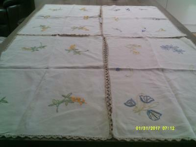 4 Vintage Hand Embroidered Table Mats Center Pieces Vibrant Colours And Designs