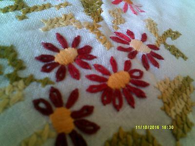 VINTAGE HAND EMBROIDERED FLOWER TABLECLOTH 90 by 83 CM
