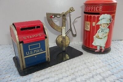 Lot- 2 Vintage US Mail Postage Stamp Metal Dispenser w/Weight & Post Office Bank