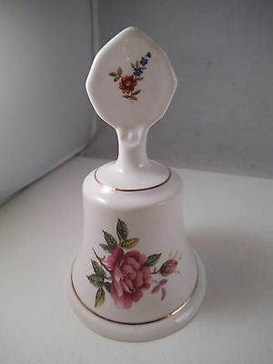 Vintage Staffordshire Fine Bone China Bell Pink Roses Flowers England