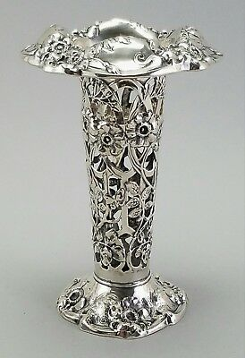 Antique Frank Whiting Sterling Silver American Art Nouveau Pierced Bud Vase