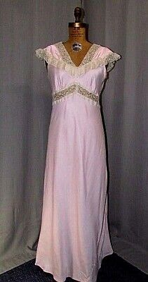 "1930S Nightgown Sleepwear Pink Satin ""paris Fashioned"" Bias Cut Vintage Lingerie"