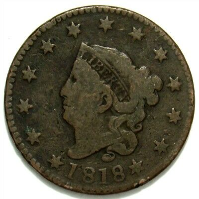 1818 Coronet Head Large Cent - Good Details - Full Liberty