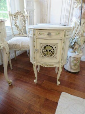 OMG Old Vintage FRENCH NIGHT STAND Oval Barbola Gesso Details Creamy White