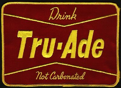 Vintage uniform patch DRINK TRU ADE NOT CARBONATED soda pop large unused n-mint